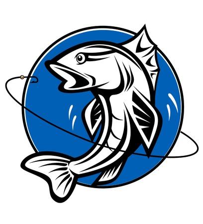 carp fishing: Pesce come un simbolo di pesca per il design Vettoriali