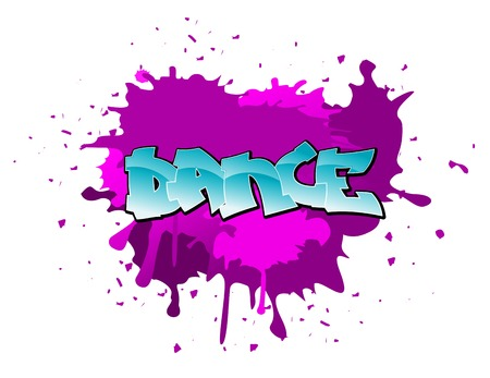 splattered: Dance urban graffiti design on blobs background Illustration