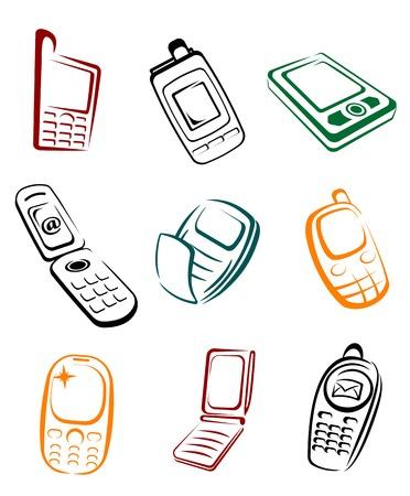 electronic elements: Serie di telefoni cellulari per il design della comunicazione o concetti globali