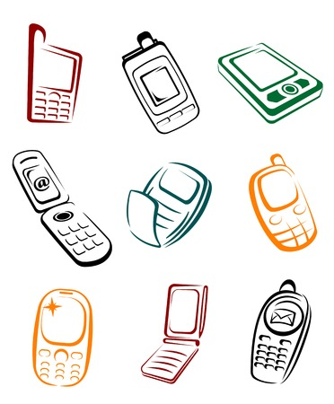mobile device: Set of mobile phones for communication design or global concepts Illustration