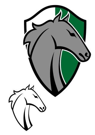 racehorse: Horse cartoon tattoos symbol for design isolated on white Illustration