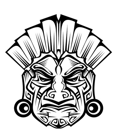 cultura maya: M�scara de antigua ceremonia aislado en blanco para dise�o