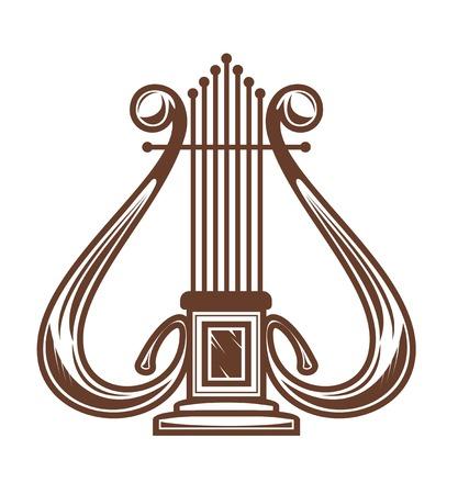 arpa: Arpa musical aislado en blanco para dise�o Vectores