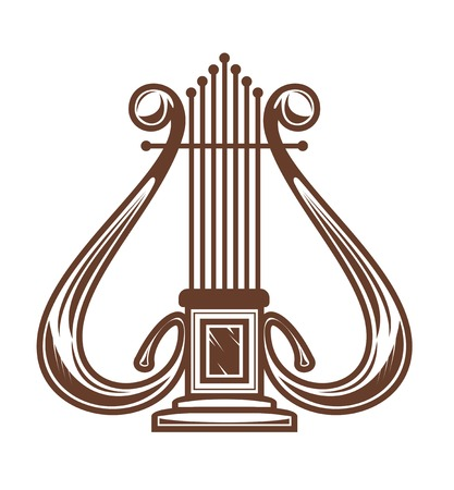 Musical harp isolated on white for design Stock Vector - 8296823