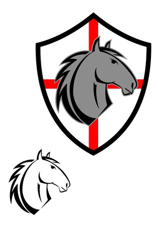 racing sign: Horse cartoon tattoos symbol for design isolated on white Illustration