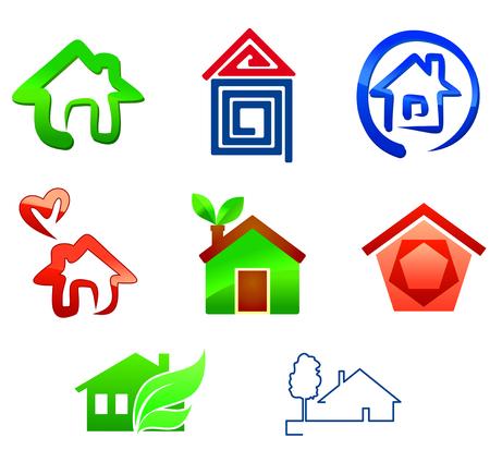 logotipo de construccion: S�mbolos de bienes ra�ces para dise�o aislados en blanco Vectores
