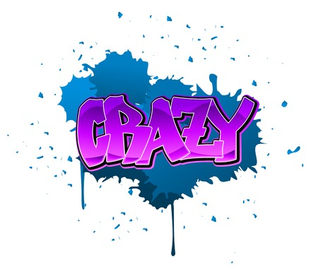 Crazy graffiti design on blue blobs background Vector