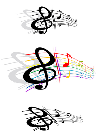 Abstract notes with music elements as a musical background design Vector