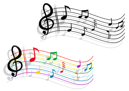 piano background: Abstract notes with music elements as a musical background design Illustration