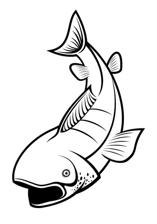 Fish as a fishing symbol isolated on white Vector