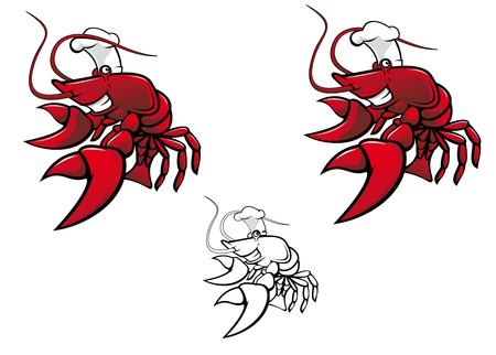 Smiling red crayfish chef isolated on white Stock Vector - 8632717