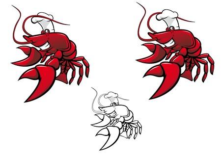 crayfish: Smiling red crayfish chef isolated on white