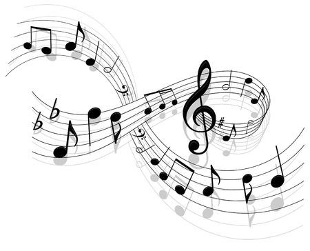 notas musicales: Notas con los elementos de la m�sica como un dise�o de fondo musical