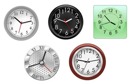 Natural clock icons isolated on white for design Stock Vector - 8632716