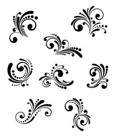 Conjunto de elementos florales hermosos, aislados en blanco Ilustración de vector