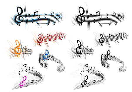 Notes with music elements as a musical background design Stock Vector - 8632725
