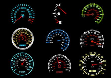 mph: Set of car speedometers for racing design