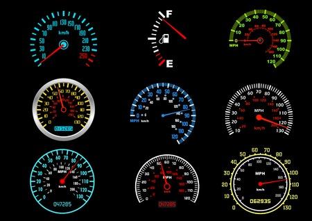dashboard car: Set of car speedometers for racing design