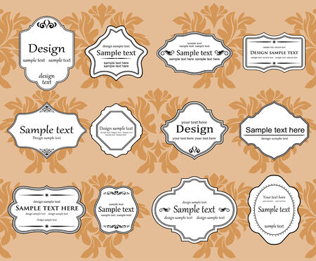 Antique vintage frames isolated on white for design Stock Vector - 8702422