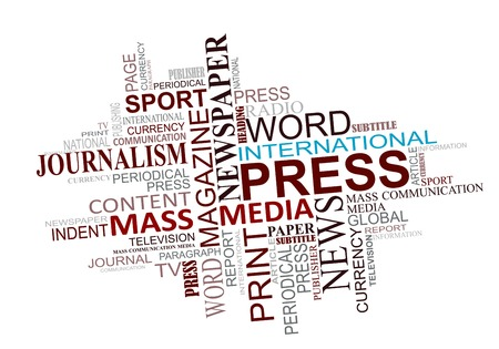 Media en journalistiek labels cloud voor het ontwerp