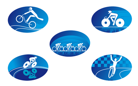 cycling: Set of bicycle sport icons for design