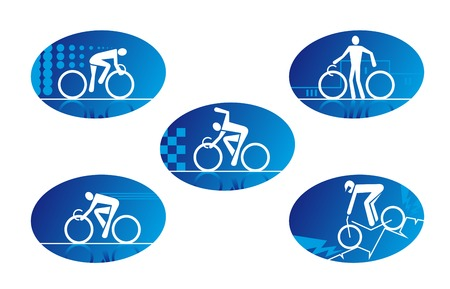 cyclist silhouette: Set of bicycle sport icons for design