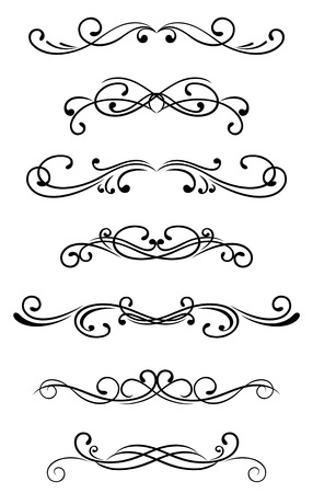 filigree frame: Swirl elements and monograms for design and decorate Illustration