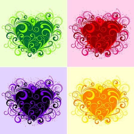 Set of beautiful floral heart elements isolated on white