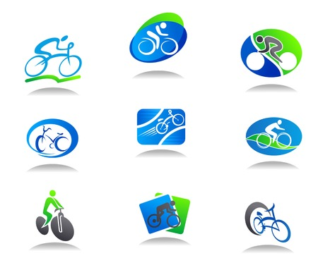 Set of bicycle sport icons for design Vector