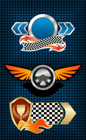 sports race emblem: Isolated racing symbols and icons for design