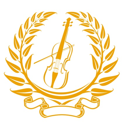 violins: Violin symbol in laurel wreath isolated on white