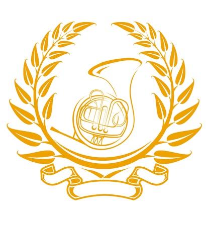 trombone: Trombone symbol in laurel wreath isolated on white Illustration