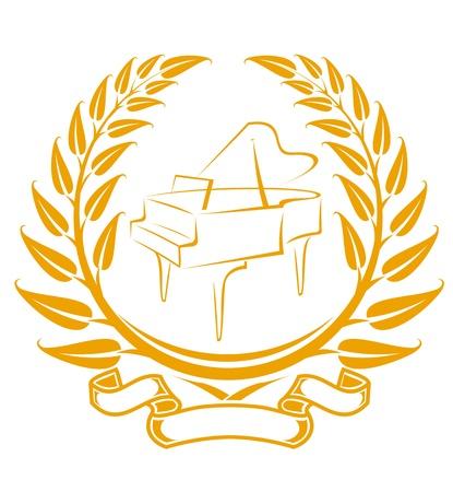 laurels: Piano symbol in laurel wreath isolated on white