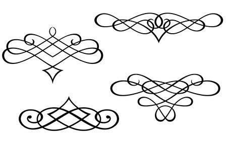 Swirl elementen en monogrammen voor ontwerp en versier Vector Illustratie