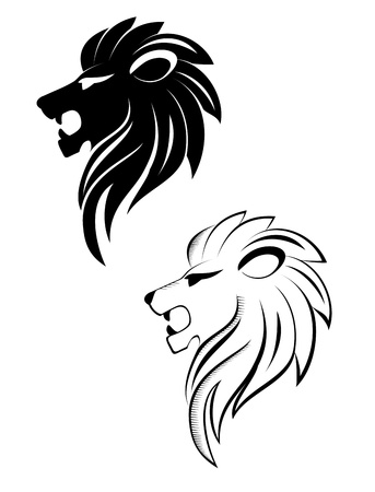 lion head: Isolated lion head as a symbol or sign