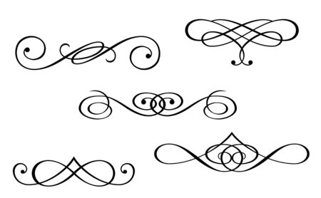 decorative style: Design elements and monograms isolated on white