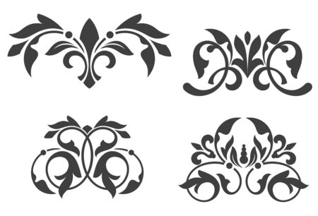 filigree: Antique vintage floral patterns isolated on white Illustration