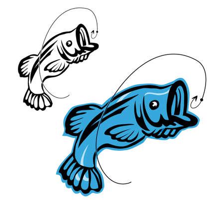 gevangen: Vis als een symbool van de visserij op wit wordt geïsoleerd Stock Illustratie