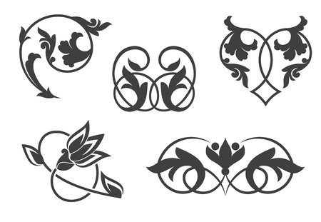 Antique vintage floral patterns isolated on white Stock Vector - 8796021