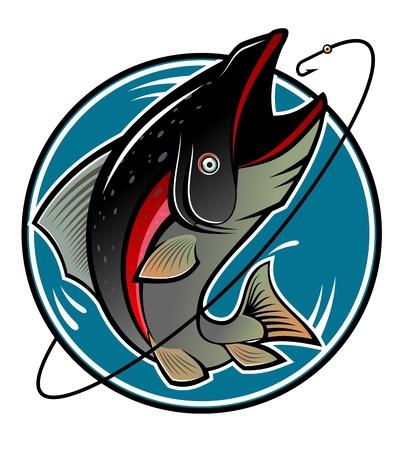 carp fishing: Pesce come un simbolo di pesca isolato on white Vettoriali