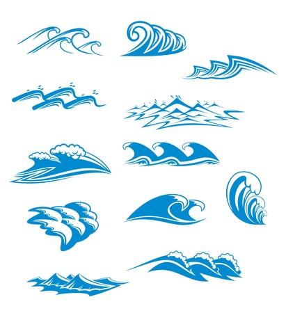 tide: Conjunto de s�mbolos de onda para dise�o aislados en blanco