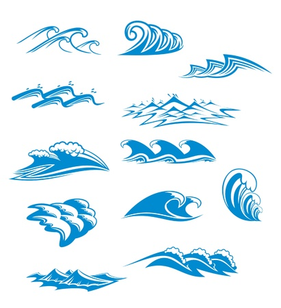 ripples: Set of wave symbols for design isolated on white