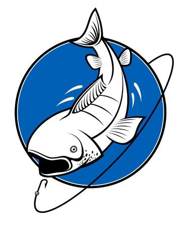 Vis als een symbool van de visserij op wit wordt geïsoleerd Stockfoto - 8910398