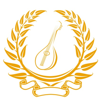 Guitar symbol in laurel wreath isolated on white Vector