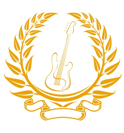 Electro guitar symbol in laurel wreath isolated on white Vector
