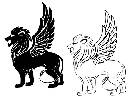 head of lion: Isolated lion with wings for heraldry design