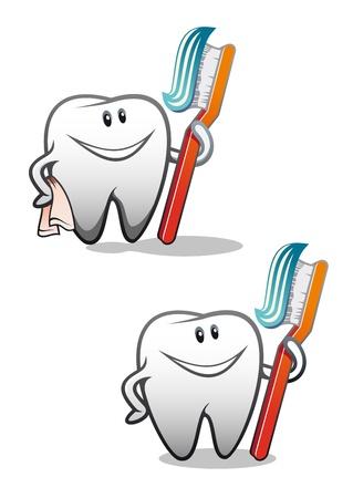 dientes caricatura: Blanco sonriente dientes como un concepto de salud o s�mbolo Vectores