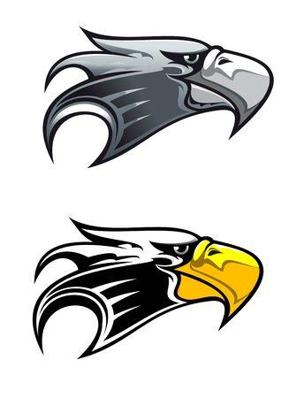 Símbolo del águila de dibujos animados aislado en blanco para tatuaje o otro diseño