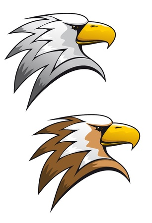 head protection: Cartoon eagle symbol isolated on white for tattoo or another design