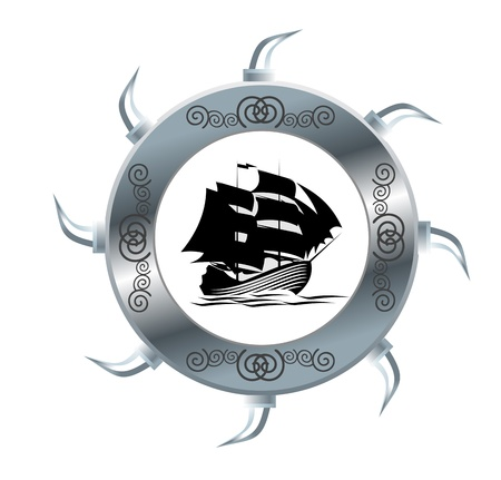 Ancient sail ship isolated on white for design Stock Vector - 8910412